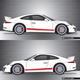Dual Color Over The Top Racing Stripes For Porsche 991 Gt3