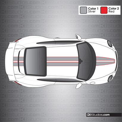 Porsche Two Colors Dual Racing Stripes Over The Top