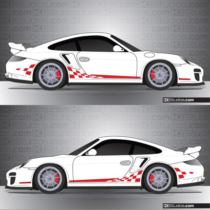 extended checkered decals for the porsche 911 997 gt2. Black Bedroom Furniture Sets. Home Design Ideas