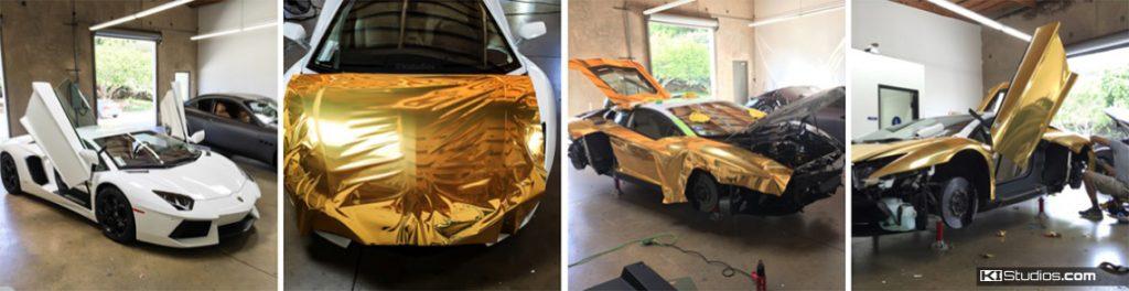 Gold Lamborghini Aventador Wrap Process