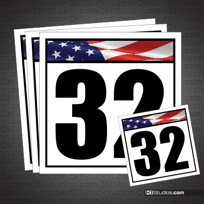 American Flag Reusable Racing Numbers