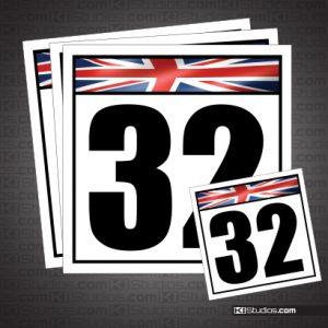 British Racing Number Plates Set
