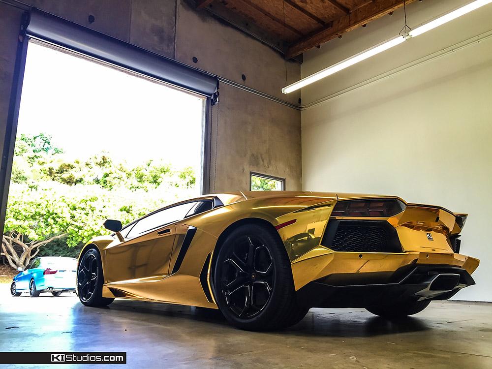 Chrome Car Wrap >> Aventador Wrap - Gold Chrome Aventador