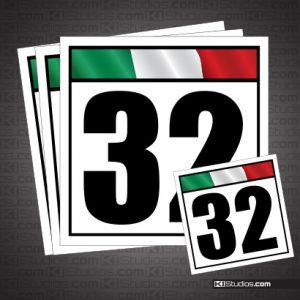Italian Flag Reusable Racing Numbers