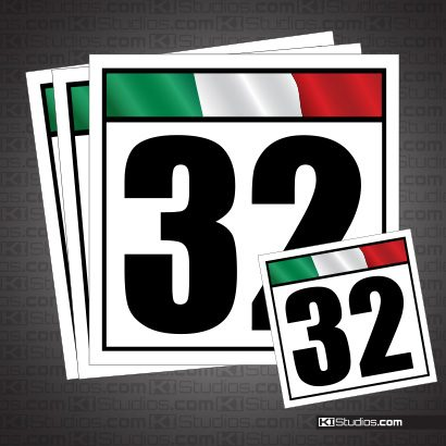 Italian Flag Reusable Racing Numbers