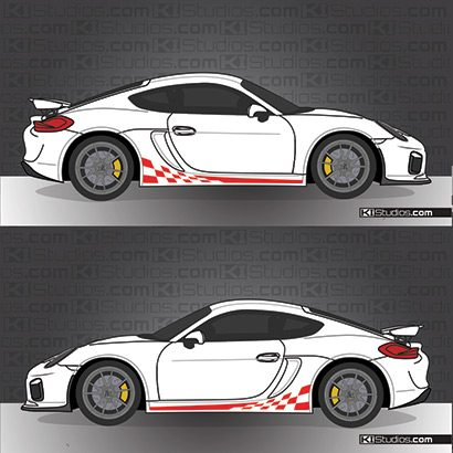 Porsche GT4 checker stripe decals