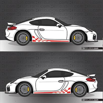 Porsche GT4 checker stripe decals