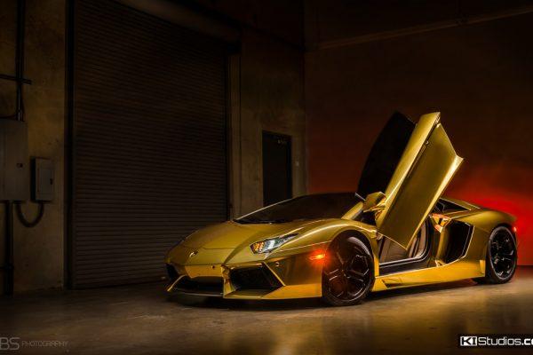 Gold Lamborghini Aventador - Grubbs Photography