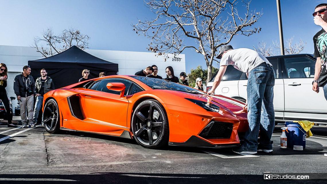 Arancio Argos Lamborghini Aventador Stripes Ki Studios
