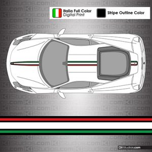 Ferrari 458 Italia Stripes - Italian Flag Colors