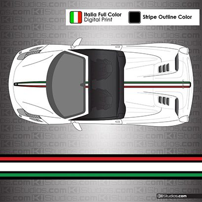 Ferrari 458 Spider Italian Flag Stripes - 004