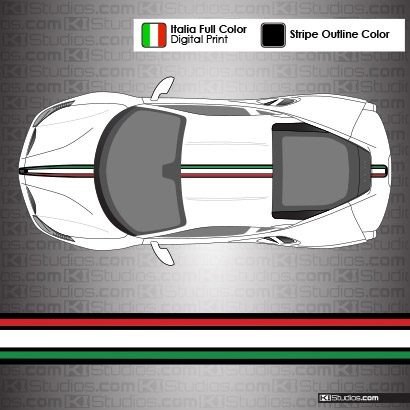 Ferrari 488 GTB Italian Flag Colors Stripe Kit