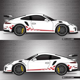 Porsche 991 GT3 RS Checker Stripes - KI Studios