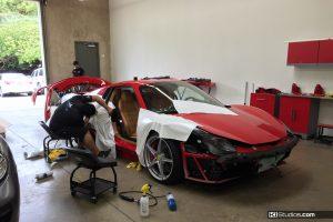 Ferrari 458 Spider Car Wrap Red to White - KI Studios