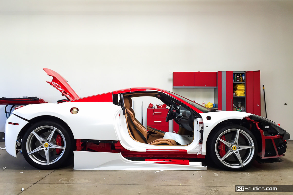 car wrap vs paint ferrari 458 spider wrap process