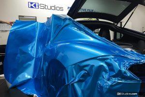 Bright Blue Vinyl Wrap Porsche
