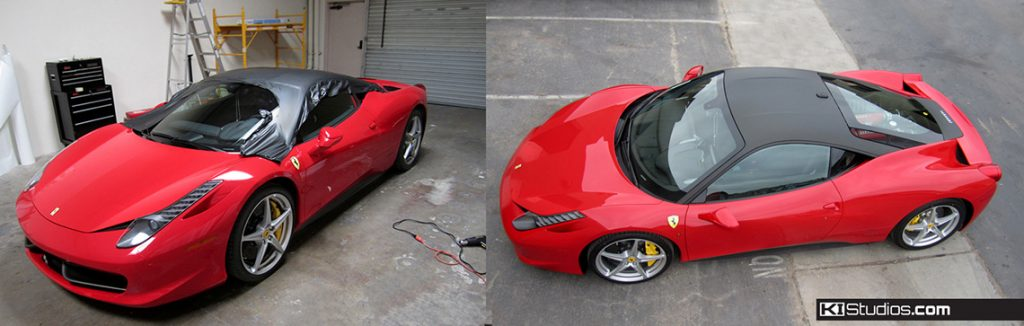 Black Roof Wraps - Red Ferrari 458 Italia