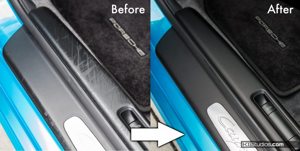 Porsche Cayman 987 Door Sill Trim Before and After - KI Studios