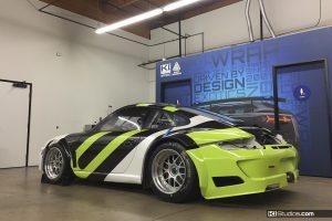 Avery Dennison Porsche Race Car Wrap in Progress