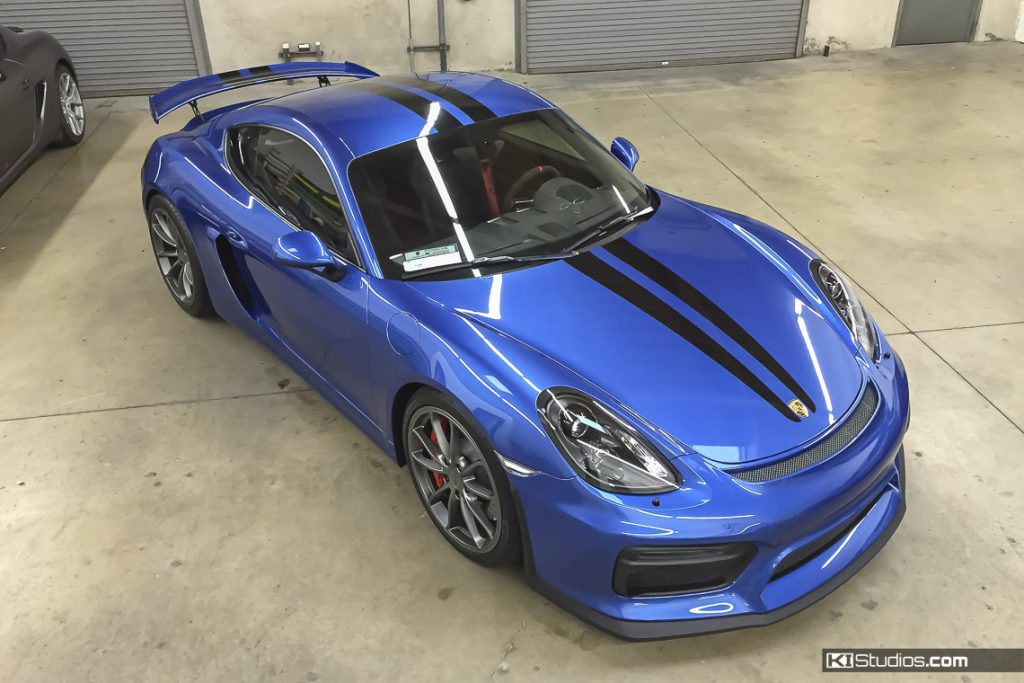 Blue Cayman with Scuderia Ferrari Stripes