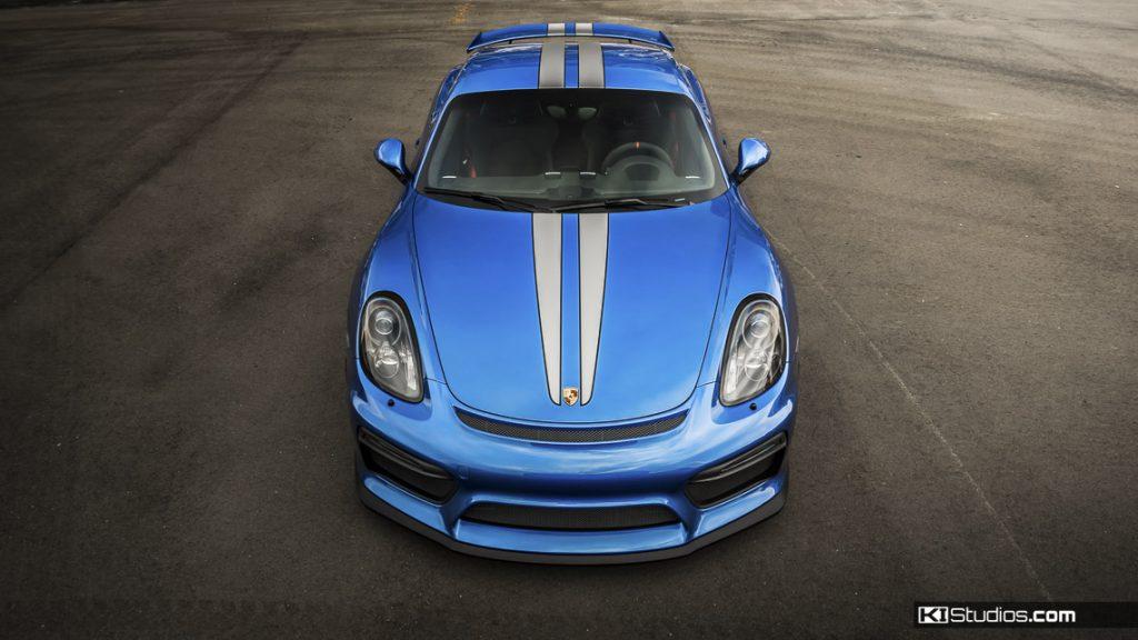 Blue Porsche Cayman GT4 Scuderia Stripes - KI Studios