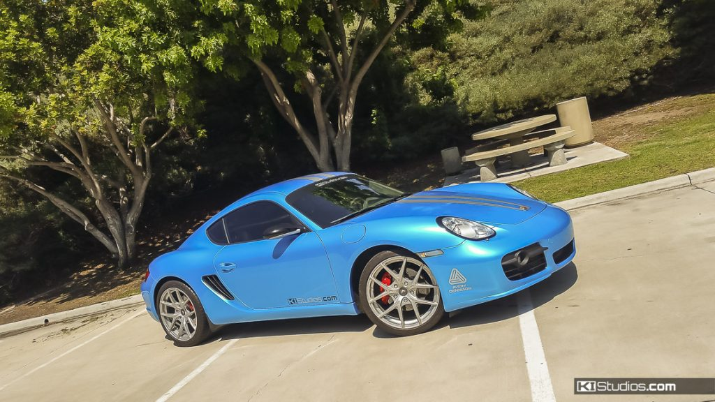 Porsche Cayman Blue Wrap