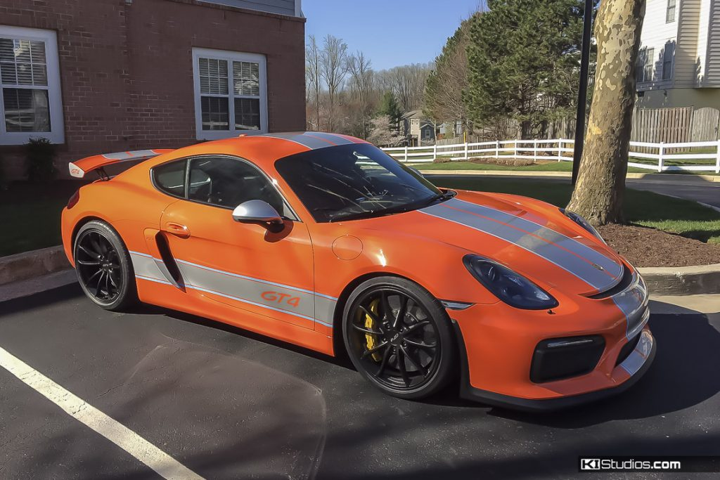Orange Porsche Cayman GT4 Custom Stripes