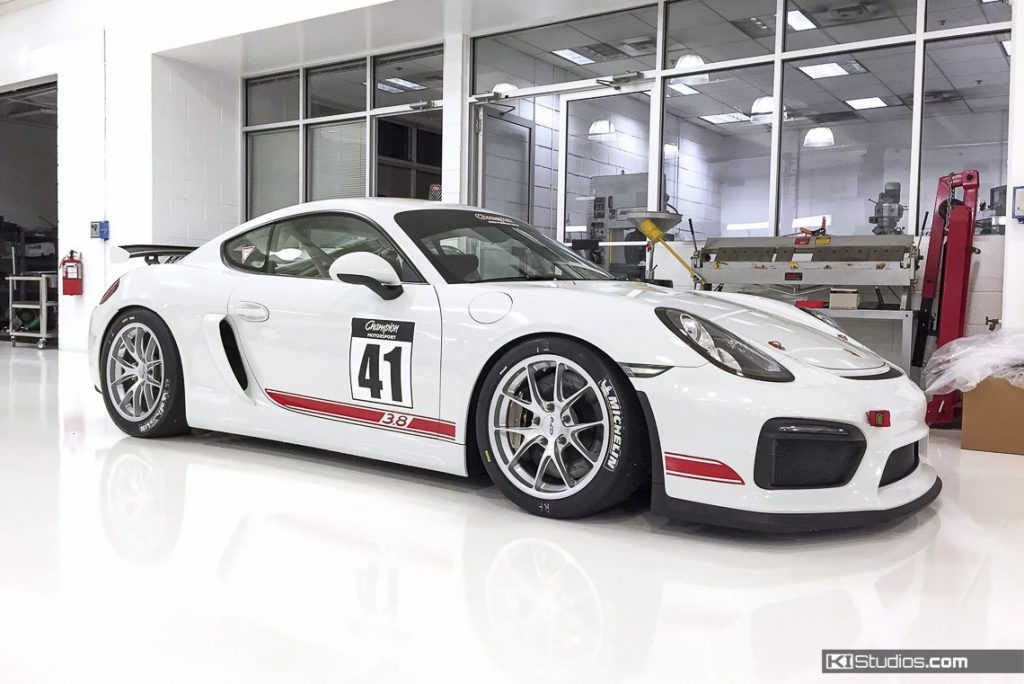 White Porsche Cayman GT4 Decals in Red