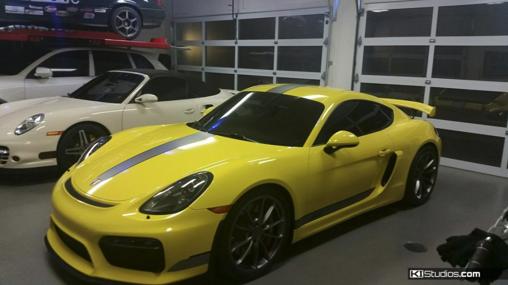 Yellow Cayman GT4 with Stripes - KI Studios