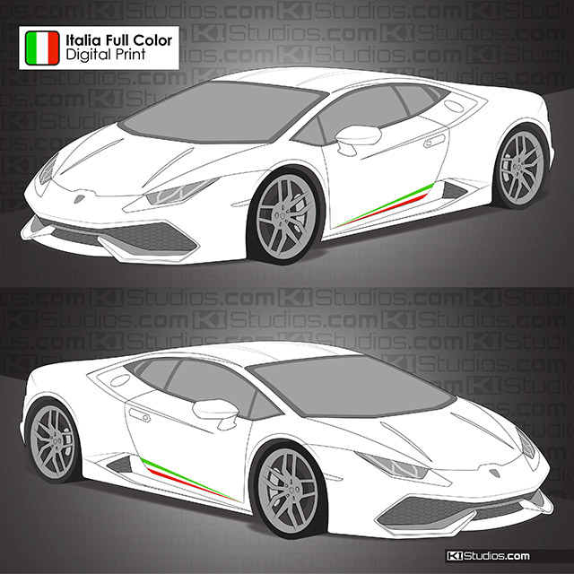 Lamborghini Huracan Performante Italian Flag Stripes Ki Studios