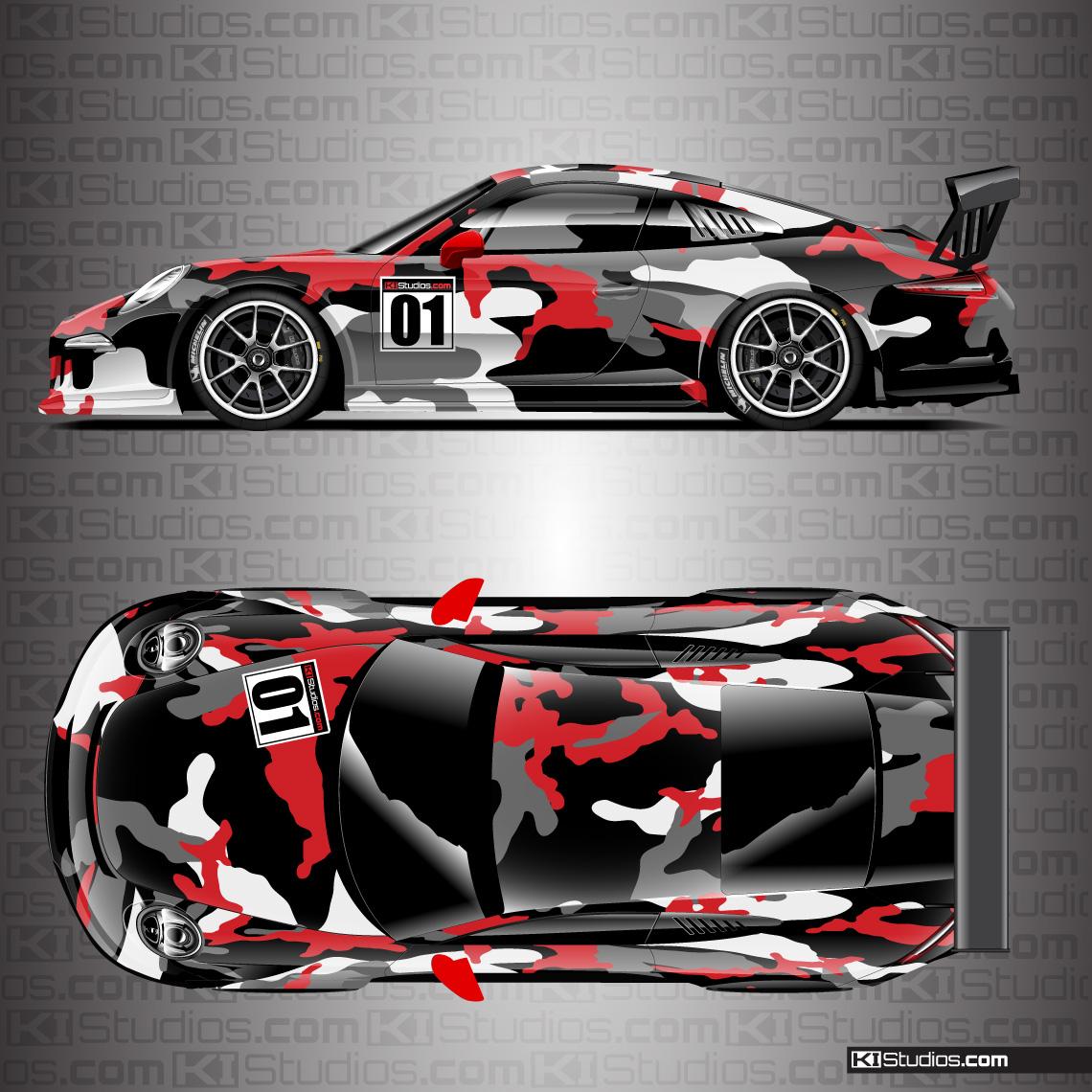 Porsche Racing Livery Camo Wrap - Covert