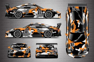 Porsche 911 Race Car Camo Wrap - Covert in Orange