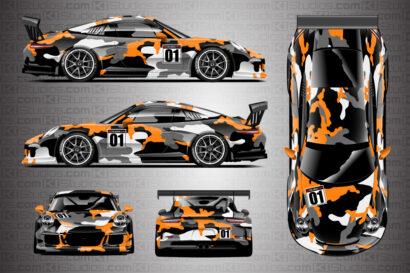 Porsche 911 Race Car Camo Wrap - Covert in Orange