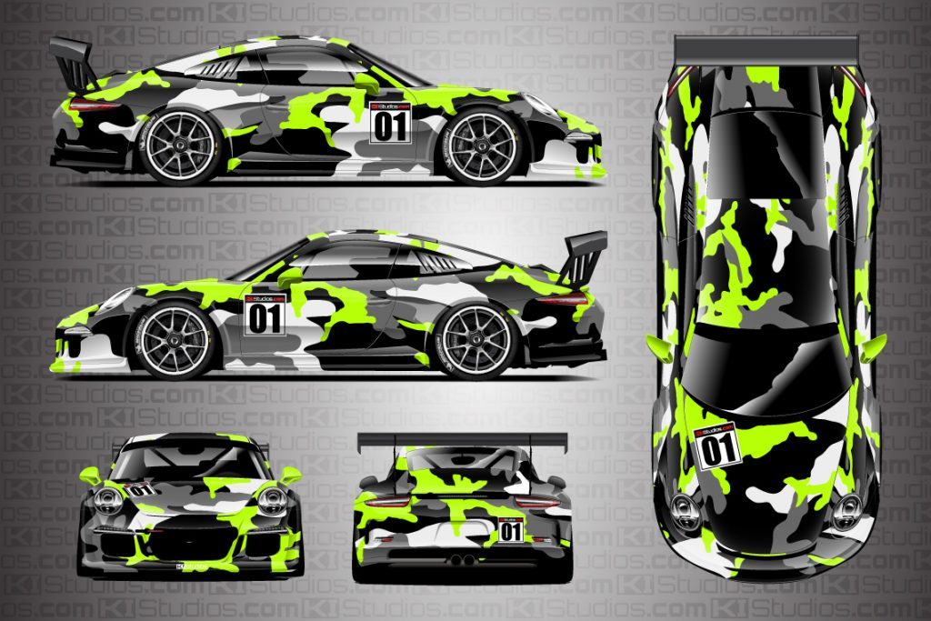 Porsche 911 Race Car Camo Wrap - Covert in Lime Green by KI Studios