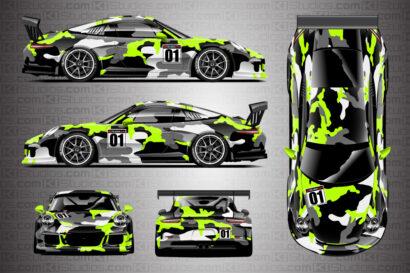Porsche 911 Race Car Camo Wrap - Covert in Lime Green by KI Studios