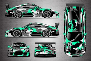 Porsche 911 Race Car Camo Wrap - Covert in Mint Green by KI Studios