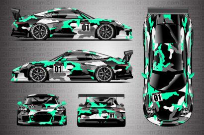 Porsche 911 Race Car Camo Wrap - Covert in Mint Green by KI Studios