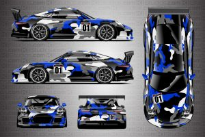 Blue Camo Covert Porsche 911 Cup Wrap