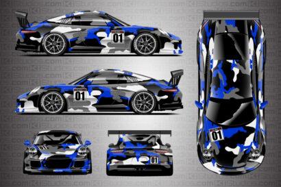 Blue Camo Covert Porsche 911 Cup Wrap
