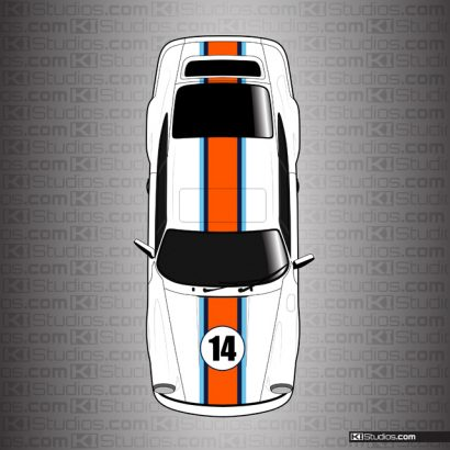 Porsche 964 Gulf Livery Racing Stripes