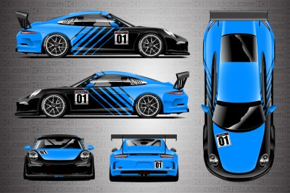 Porsche 911 Cup Car Racing Livery Contra in Azure Blue - Full Colorway