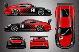Porsche 911 Cup Car Racing Livery Contra in Blood Red - Full Colorway