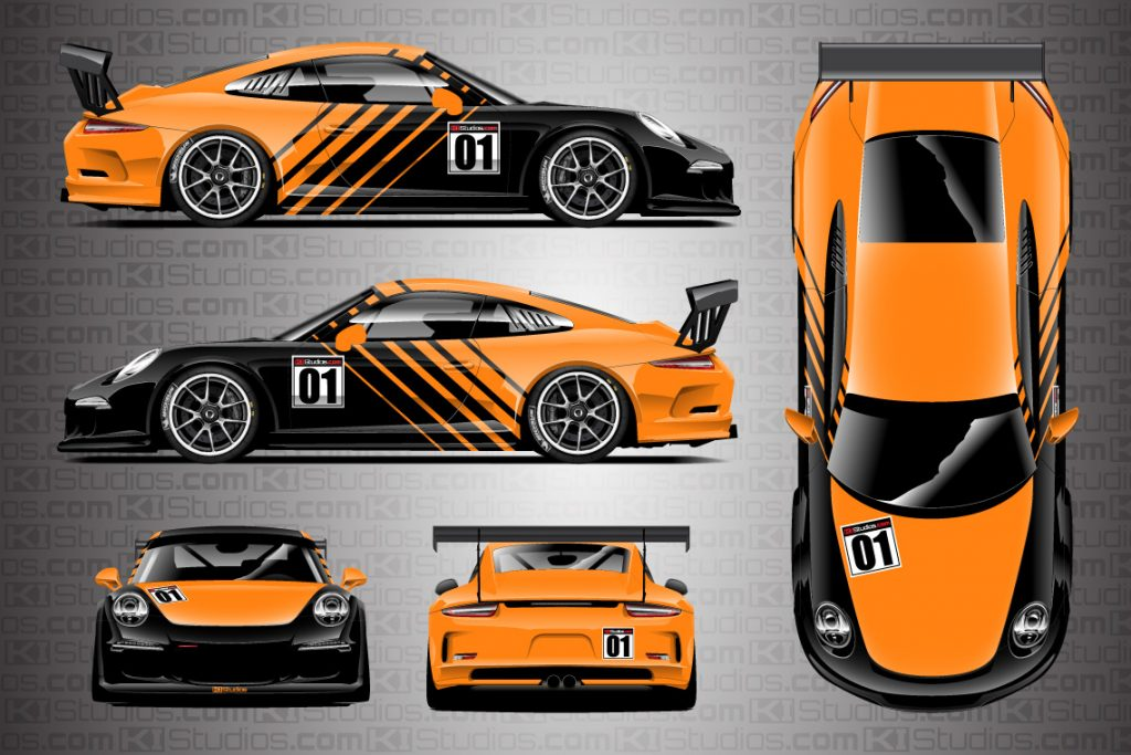 Porsche 911 Cup Car Racing Livery Contra in Bright Orange