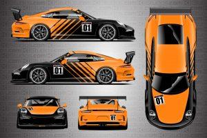 Porsche 911 Cup Car Racing Livery Contra in Bright Orange