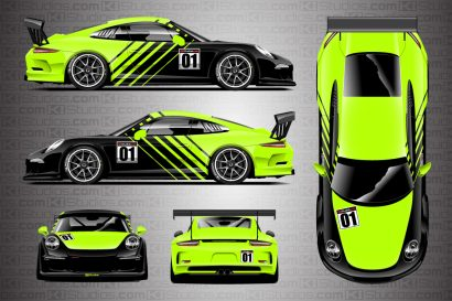 Porsche 911 Cup Car Racing Livery Contra in Lime Green