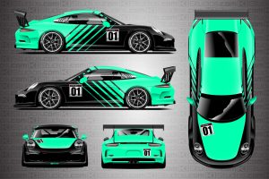 Mint Green Porsche 911 Cup Car Racing Livery Contra