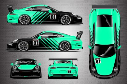Mint Green Porsche 911 Cup Car Racing Livery Contra