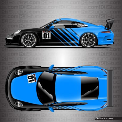 Porsche 911 Cup Car Racing Livery Contra in Azure Blue