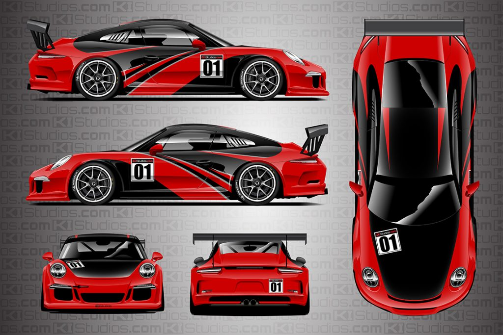 KI Studios Porsche 991 GT3 Cup Elixir Livery - Blood Red Colorway
