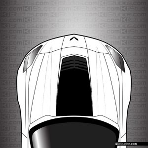 Corvette C7 Z06 Hood Stinger Vinyl Decal in Matte Black